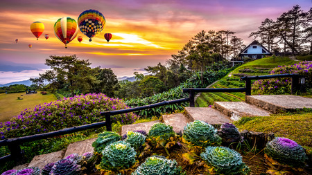Colorful hot air balloons flying over mountains and mist in sunrise time, Huai Nam Dang National park in sunrise, Chiang Mai Province, Thailand.