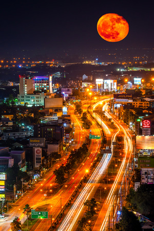 CHIANG MAI, THAILAND - SEPTEMBER 16, 2019 : Micro Full Moon in Chiang Mai, The phenomenon of the most distant moon of the year. At a distance of approximately 406,235 kilometers