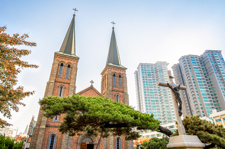 Daegu, South Korea - November 6, 2019 : Daegu Jeil Church at Namseong-ro in Daegu city, South Korea.