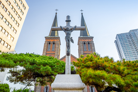 Daegu, South Korea - November 6, 2019 : Jesus in front of Daegu Jeil Church at Namseong-ro in Daegu city, South Korea.