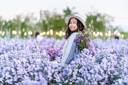 Pretty girl in a garden of flowers, Happy asian girl holding flower bouquet on Margaret Aster flowers field in garden at Chiang Mai, Thailand