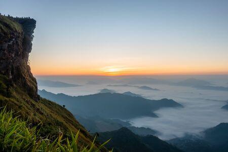 Sunrise and sea of mist, Mountain at Phu chee fa or Phu chi fa in Chiang Rai province Thailand.