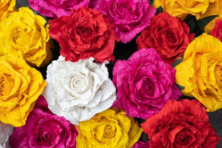 Colorful Handmade Mulberry Paper Roses, Roses handmade paper. Valentine Flower paper
