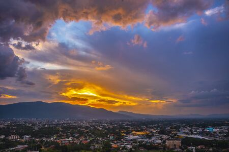 Beautiful panoramic aerial view of the city with clouds and sky composite. Chiang Mai, Thailand.
