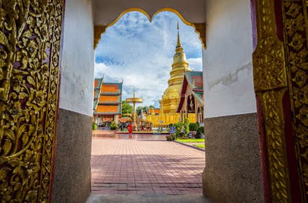 Thai temple of buddhism, Wat Phra That Hariphunchai famous temple in Lanphun Northern of Thailand Editorial