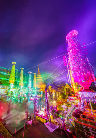 LAMPHUN, THAILAND - AUGUST 30, 2020 :  Symphony of Lights is the spectacular light and sound show Wat Phra That Hariphunchai Temple in Salak Yom Festival, LAMPHUN, THAILAND