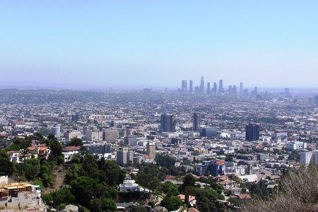 Stad van Los Angeles van een klif in Runyan Canyon