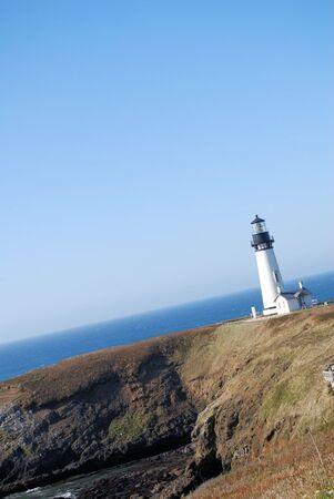 vuurtoren op de Oregon kust van de Stille Oceaan Stockfoto