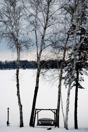 Winter wonderland op het meer Stockfoto