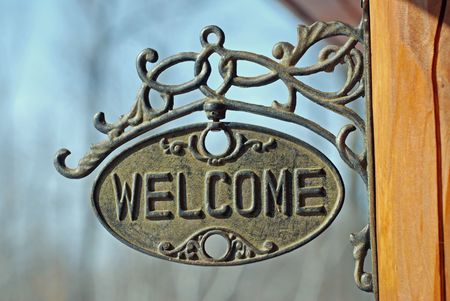 Welcome please enter sign Stock fotó