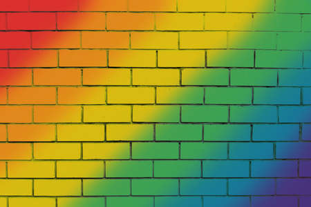 Multi-colored brick wall. Empty and clean surface with brickwork. Background blank for design