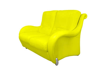 This yellow stylish office sofa made of perforated leather for two persons stands isolated on a white background.