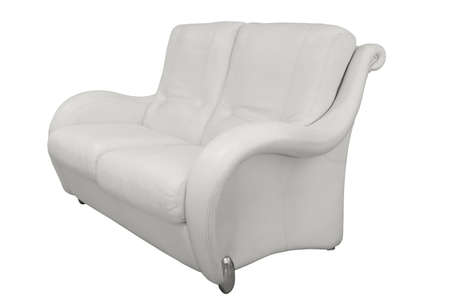 This white office sofa made of perforated leather for two persons stands isolated on a white background. Side view 免版税图像
