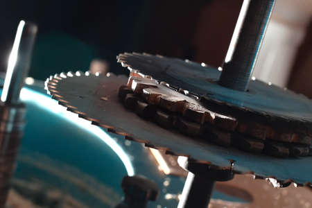 Sharp circular saw blades close up. Dangerous machine to cut up from horror films.