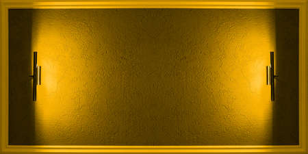A blank for inserting information. Yellow texture background in a horizontal frame with lighting fixtures on the sides. 免版税图像
