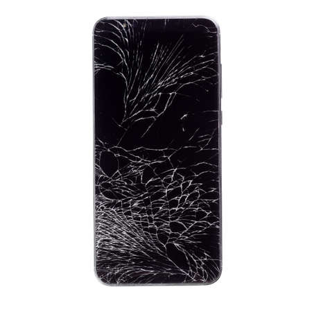 A black phone with a broken display isolated on a white background.