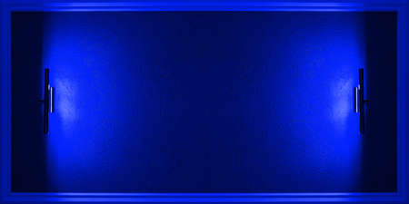 Blue neon background with a frame for placing information with a side light.