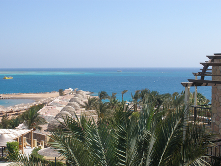 thickets: Egypt. The red sea coast. Thickets of corals. Boats