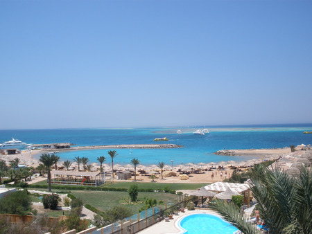 sinai peninsula: Egypt. The red sea coast. Thickets of corals. Boats