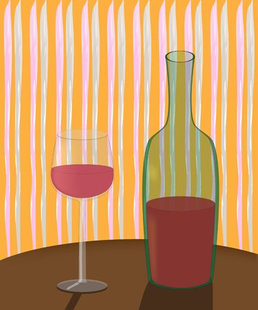 abstrakt: a bottle of wine and a glass on the table in an inexpensive cafe