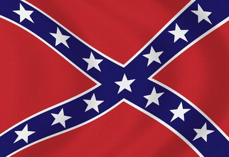 identidad cultural: Old aged and battle damaged USA confederate flag painted on stone