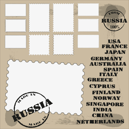 ephemera: a set of stamps and printing with the country