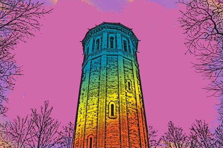 sixties: a new wave of illustration in the style of a sixties tower and trees Illustration