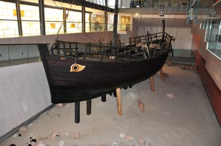 the restoration of the ancient Greek ship in the Museum of Agia NAPA Stock Photo