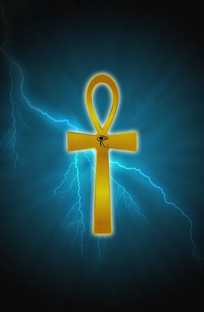 crux: Ankh and light with lightning the background
