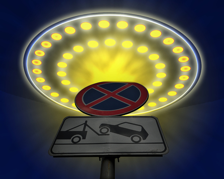 flying disc: UFO want to Park, but the restrictive sign