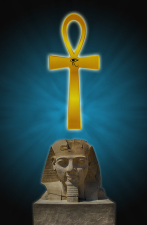 ankh: the head of a Pharaoh and Ankh on the background of clouds