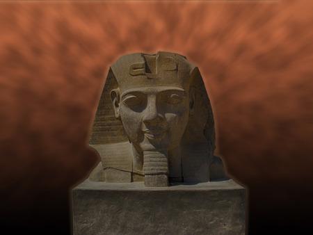 desert storm: the head of a Pharaoh on the background of desert storm