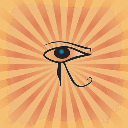 the eye of RA on the radiant grunge background