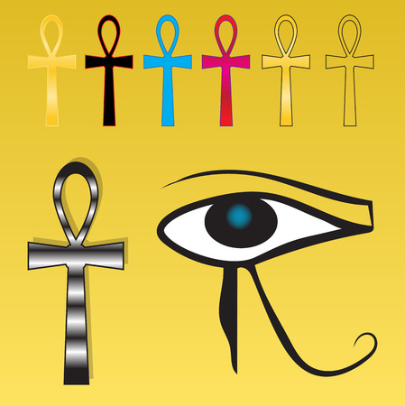set Egyptian crosses in different interpretations on Sunny background