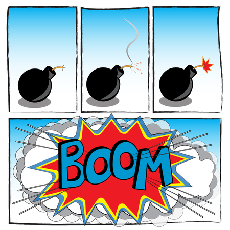 strip comic about phase explosion cartoon bomb