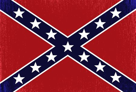 the old Confederate flag with peeling paint