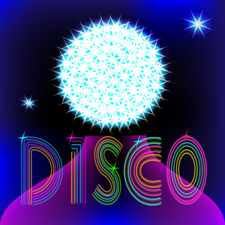neon sign disco on the background of bright globe and stars