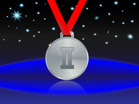 silver medal: abstract star background and a silver medal for second place