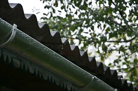overhang: drops fall from the roof to the drain trough during rain