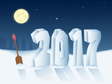 Bp 2017 fashioned snow d new years eve. the moon in the starry sky. wooden shovel and mittens. vector illustration