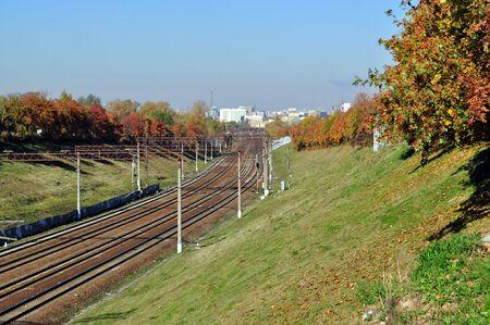 ,railway sunny autumn day yellow foliage photo