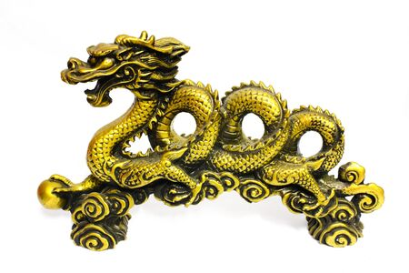 Golden dragon on white Stock Photo