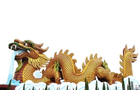 Golden Chinese Imperial Dragon Blowing water l,isolated on white Stock Photo
