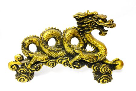 Golden dragon isolate on white  写真素材
