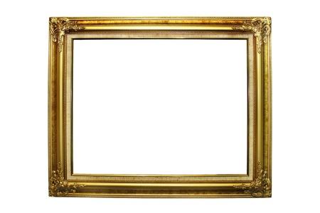 白で隔離されるゴールド額縁 写真素材