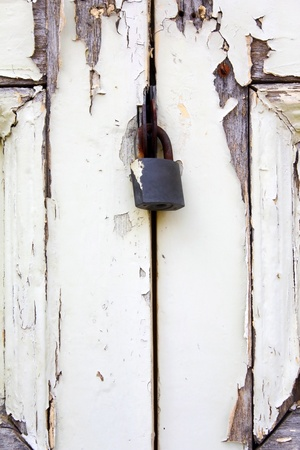 Grunge vintage door with lock photo