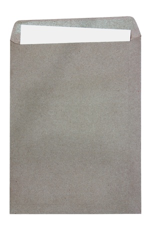 Brown Envelope document with paper on white background Stock Photo