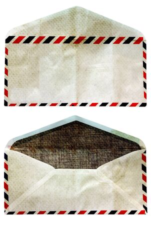 front and back, old envelopes was open isolate on white photo