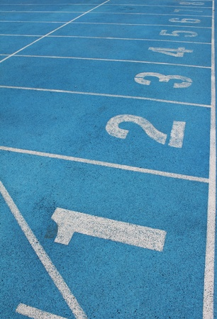 lanes of a blue race track of numbers