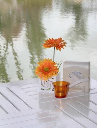 Coffee table near a river